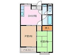 三重県鈴鹿市西条5丁目の賃貸アパートの間取り