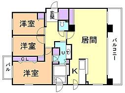 サムティ円山桜 2階3LDKの間取り