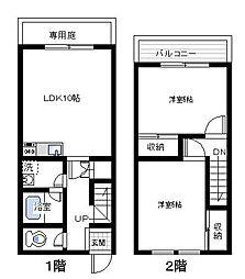 [タウンハウス] 大阪府泉佐野市下瓦屋6丁目 の賃貸【/】の間取り