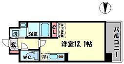 CUORE(クオーレ) 7階ワンルームの間取り