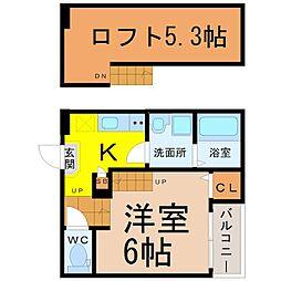 愛知県名古屋市中村区畑江通5丁目の賃貸アパートの間取り