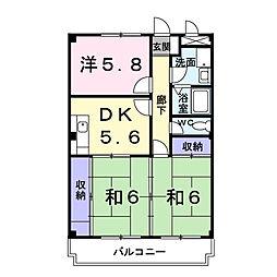 ロイヤルパレス桜井[302号室]の間取り