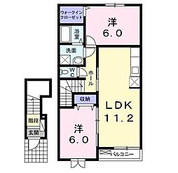 サンデリアーナII B[2階]の間取り