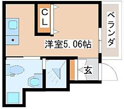 山陽電鉄本線 藤江駅 徒歩2分の賃貸アパート 1階ワンルームの間取り