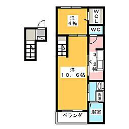 リバーサイド桜坂[4階]の間取り