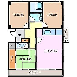 北浜田マンション[3階]の間取り