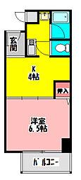 吉岡第3ビル 3階1Kの間取り