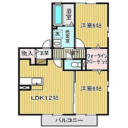 愛知県名古屋市中川区服部5の賃貸アパートの間取り