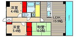 朝日プラザ堺東II[404号室]の間取り