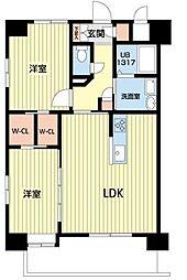 熊本電気鉄道 北熊本駅 徒歩5分の賃貸マンション 10階2LDKの間取り