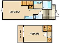 兵庫県尼崎市南武庫之荘8丁目の賃貸アパートの間取り