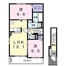 福岡県北九州市若松区白山2丁目の賃貸アパートの間取り