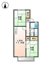 愛知県名古屋市北区如意2丁目の賃貸アパートの間取り