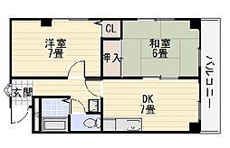 JPアパートメント堺II[405号室]の間取り