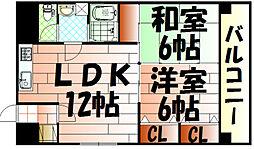 ハニーハイツ三萩野[5階]の間取り