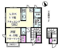 神奈川県大和市上草柳8丁目の賃貸アパートの間取り