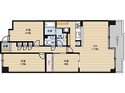 桜宮リバーシティ・コープ21 3階3LDKの間取り