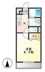 愛知県名古屋市中川区尾頭橋2の賃貸アパートの間取り