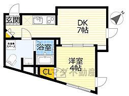 NOZOMIO OHIMACHI TERRACE 3階1DKの間取り