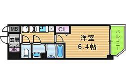 ララプレイス天王寺ルフレ 2階1Kの間取り
