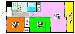 第5大原マンション 307号室[3階]の間取り