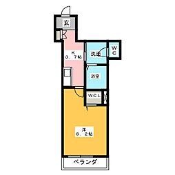 仮称 横井町計画案 3階1Kの間取り