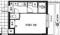 東京メトロ丸ノ内線 中野新橋駅 徒歩4分の賃貸マンション 1階1Kの間取り