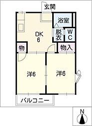 アートヒルズ八田A棟[2階]の間取り