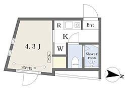 西武新宿線 下落合駅 徒歩2分の賃貸マンション 2階1Kの間取り