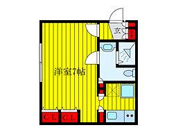 都営三田線 新板橋駅 徒歩4分の賃貸マンション 1階ワンルームの間取り
