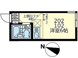 神奈川県川崎市川崎区小田4丁目の賃貸アパートの間取り