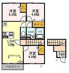 (仮)D-room鵜の木 2階2LDKの間取り