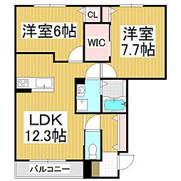 シャーメゾン ラコンテ 1階2LDKの間取り
