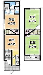 [テラスハウス] 大阪府門真市大字桑才 の賃貸【/】の間取り