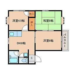 静岡県静岡市葵区瀬名7丁目の賃貸アパートの間取り