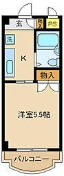 モンシャトー松戸II[208号室]の間取り