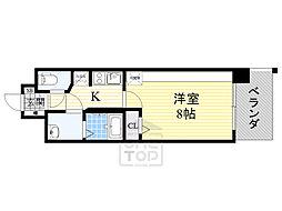 JR片町線(学研都市線) 放出駅 徒歩3分の賃貸マンション 13階1Kの間取り