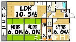 福岡県春日市下白水北5丁目の賃貸マンションの間取り