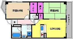 兵庫県芦屋市西芦屋町の賃貸マンションの間取り
