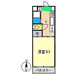 オオソネハイツ2[4階]の間取り