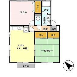 兵庫県加古川市尾上町旭3丁目の賃貸アパートの間取り
