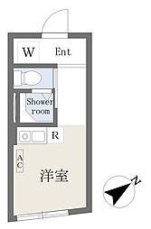 Growcel北新宿 2階ワンルームの間取り