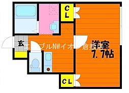JR山陽本線 新倉敷駅 徒歩13分の賃貸アパート 1階1Kの間取り