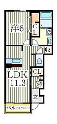 ヒルサイドコートB[1階]の間取り