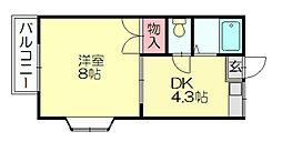 福岡県福岡市博多区空港前2丁目の賃貸アパートの間取り