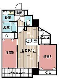 LE GRAND BLEU HAKATA 7階2LDKの間取り
