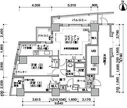 都営大江戸線 汐留駅 徒歩4分の賃貸マンション 31階2LDKの間取り