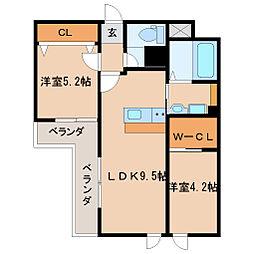 阪急神戸本線 園田駅 徒歩19分の賃貸マンション 2階2LDKの間取り