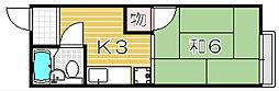 大阪府吹田市南高浜町の賃貸アパートの間取り