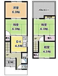 藤田町1丁目 一戸建て貸家 1階4DKの間取り